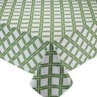 Bamboo-Lattice-Print 52-Inch x 52-Inch Square Tablecloth in Green/ White
