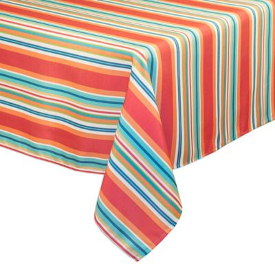 Mystic Stripe 60 Inch X 102 Inch Oblong Tablecloth In Aqua