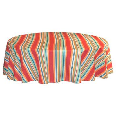 Mystic Stripe 60 Inch Round Tablecloth In Aqua