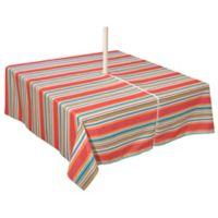 Mystic Stripe 60-Inch x 84-Inch Umbrella Tablecloth in Aqua