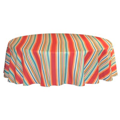 Mystic Stripe 70 Inch Round Tablecloth In Aqua