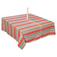 Mystic Stripe 70-Inch Square Umbrella Tablecloth in Aqua