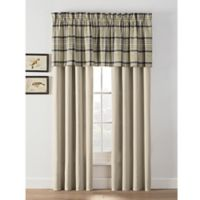 Norfolk Plaid 84-Inch Rod Pocket Window Curtain Panel Pair in Khaki