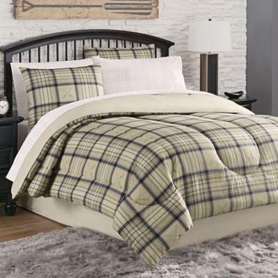 norfolk plaid 6piece twin comforter set in tannavy