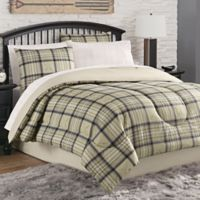 Norfolk Plaid 8-Piece Full Comforter Set in Tan/Navy