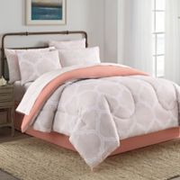 Lattice 8-Piece Full Comforter Set in Taupe/Coral