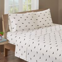 HipStyle Olivia 200-Thread-Count King Printed Sheet Set in Black/Ivory