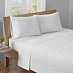HipStyle 200-Thread-Count Full Polka Dot Printed Sheet Set in Grey