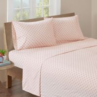 HipStyle 200-Thread-Count Twin Polka Dot Printed Sheet Set in Pink
