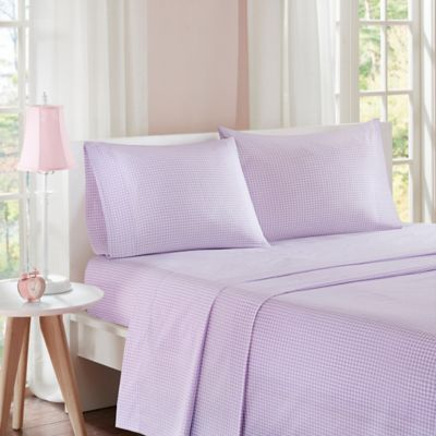 Attrayant Mi Zone Gingham Twin Sheet Set In Purple