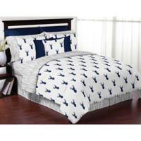 Sweet Jojo Designs Woodland Deer 3-Piece Queen/Full Comforter Set in Navy/White