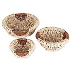 Household Essentials® 3-Piece Rope and Corn Leaf Round Bowl Set in Natural/Brown