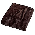 Embossed Faux Mink Full/Queen Blanket in Chocolate