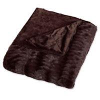 Embossed Faux Mink Full/Queen Blanket in Chocolate