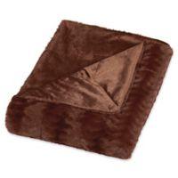 Embossed Faux Mink King Blanket in Caramel