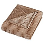 Embossed Faux Mink Full/Queen Blanket in Tan