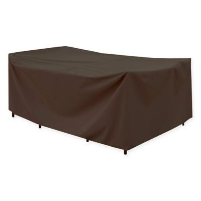 Canvas Rectangular Patio Table Cover In Dark Brown/Black
