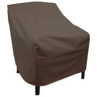Canvas High Back Patio Chair Cover In Dark Brown/Black