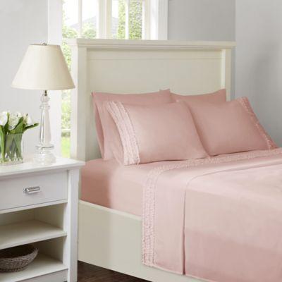 Intelligent Design Ruffled Extra Deep Pocket King Sheet Set In Pink