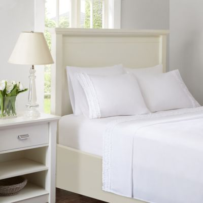 intelligent design ruffled extra deep pocket california king sheet set in white