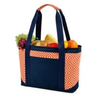 Picnic at Ascot Large Insulated Cooler Tote in Orange/Navy