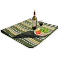 Picnic at Ascot Waterproof Outdoor Picnic Blanket in Green Stripe