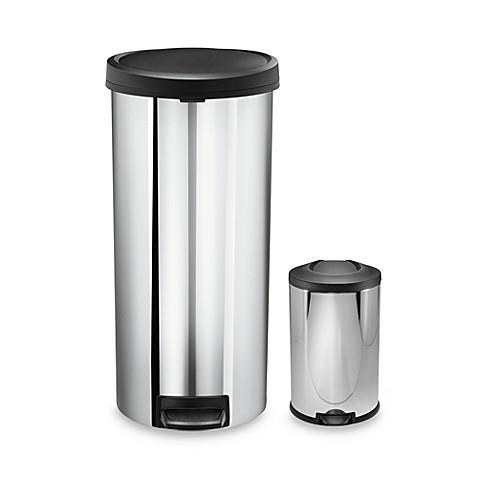 simplehuman 30 liter step on trash can with bonus mini step can bed bath beyond. Black Bedroom Furniture Sets. Home Design Ideas