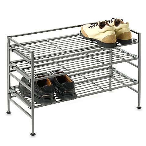 3 Tier Iron Stackable Shoe Shelf Bed Bath Amp Beyond