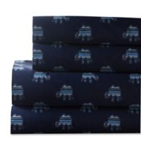Whimsical 300-Thread-Count Elephant Print King Sheet Set in Indigo