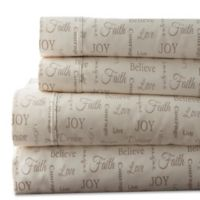 Inspirational Print 300-Thread-Count Full Sheet Set in Taupe