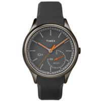Timex® IQ+ Move Men's 41mm Orange Activity Tracker Watch in Blacktone w/Grey Silicone Strap