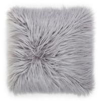Flokati Faux Fur Throw Pillow in Dusty Grey
