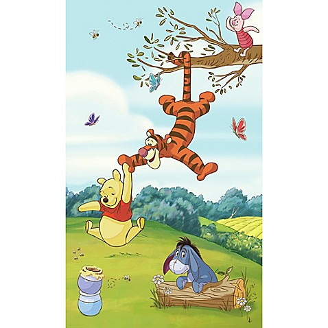 Pooh friends peel and stick mural wall art buybuy baby for Baby pooh and friends wall mural
