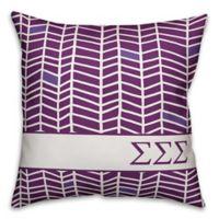 Designs Direct Sigma Sigma Sigma Chevron 18-Inch Square Throw Pillow in Purple