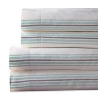Regent Stripe 300-Thread-Count King Sheet Set in Aqua