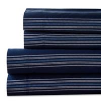 Regent Stripe 300-Thread-Count California King Sheet Set in Navy