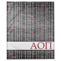 Designs Direct Alpha Omicron Pi Chevron Throw Blanket in Black