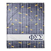 Designs Direct Phi Simga Sigma Chevron Throw Blanket in Blue