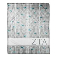 Designs Direct Zeta Tau Alpha Chevron Throw Blanket in Grey