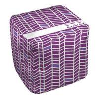 Designs Direct Sigma Sigma Sigma Chevron Ottoman in Purple