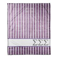 Designs Direct Sigma Sigma Sigma Squares Throw Blanket in Purple