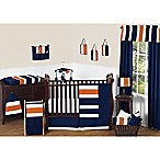 Sweet Jojo Designs Navy and Orange Stripe 11-Piece Crib Bedding Set