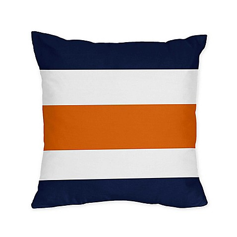 Sweet Jojo Designs Navy And Orange Stripe Throw Pillows