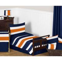 Sweet Jojo Designs Navy and Orange Stripe 5-Piece Toddler Bedding Set
