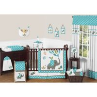 Sweet Jojo Designs Mod Elephant 11-Piece Crib Bedding Set in Turquoise/White
