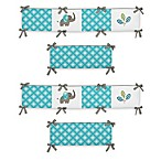 Sweet Jojo Designs Mod Elephant 4-Piece Crib Bumper Set in Turquoise/White