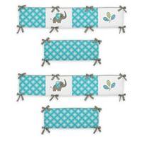 Sweet Jojo Designs Mod Elephant 4-Piece Crib Bumper Set in Turquoise/White