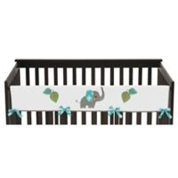 Sweet Jojo Designs Mod Elephant Reversible Long Crib Rail Cover in Turquoise/White