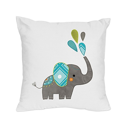 Elephant Throw Pillow Bed Bath And Beyond : Sweet Jojo Designs Mod Elephant Reversible Throw Pillow in Turquoise/White - Bed Bath & Beyond