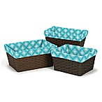 Sweet Jojo Designs Mod Elephant Basket Liners in Turquoise/White (Set of 3)